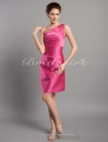 Sheath/Column Stain Short/Mini One shoulder Bridesmaid Dress