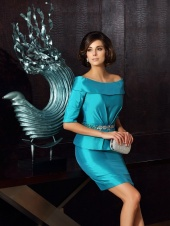 Sheath/Column Off-the-shoulder Half Sleeve Taffeta Mother of the Bride Dress