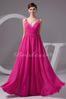 A-line V-neck Straps Floor-length Sleeveless Chiffon Dress