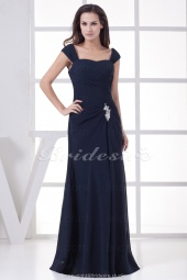 Sheath/Column Straps Floor-length Sleeveless Chiffon Bridesmaid Dress