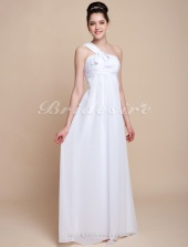 Empire Chiffon Over Elastic Satin Floor-length One Shoulder Bridesmaid/ Wedding Party Dress