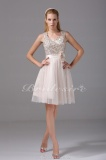 A-line Sweetheart Knee-length Sleeveless Satin Sequined Tulle Dress