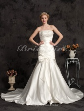 Mermaid/Trumpet Satin Chapel Train Strapless Wedding Dress