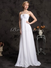 Sheath/ Column Chiffon Over Satin Sweep/ Brush Train Spaghetti Straps Wedding Dress