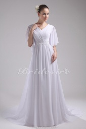 A-line V-neck Sweep Train Half Sleeve Chiffon Wedding Dress