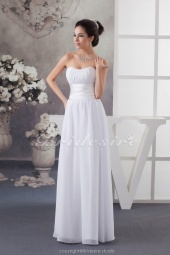 Sheath/Column Sweetheart Floor-length Sweep Train Sleeveless Chiffon Bridesmaid Dress