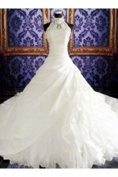 Ball Gown High Neck Sleeveless Organza Wedding Dress