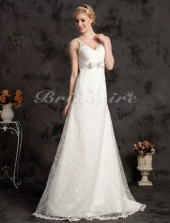 A-line Court Train Satin Lace V-neck Wedding Dress