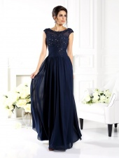 A-line Scoop Sleeveless Chiffon Mother of the Bride Dress