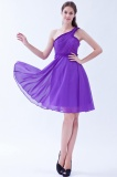 A-line One Shoulder Short/Mini Chiffon Bridesmaid Dress