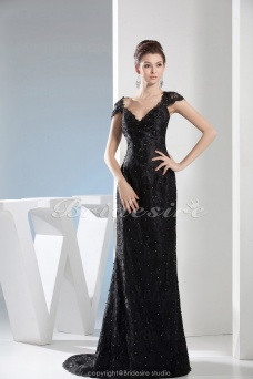 A-line V-neck Floor-length Short Sleeve Lace Dress