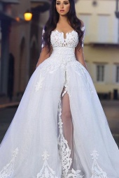 Ball Gown Off-the-shoulder Half Sleeve Organza Wedding Dress
