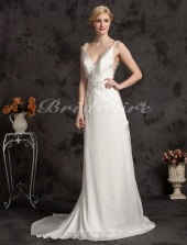 Exquisite Trumpet/ Mermaid Elastic Woven Satin Court Train V-neck Wedding Dress