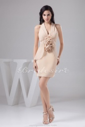 Sheath/Column Halter Short/Mini Sleeveless Chiffon Bridesmaid Dress