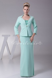 Sheath/Column Spaghetti Straps Floor-length 3/4 Length Sleeve Chiffon Mother of the Bride Dress