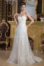 Sheath/Column Sweetheart Floor-length Sweep Train Sleeveless Chiffon Wedding Dress