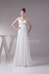 Sheath/Column Straps Court Train Sleeveless Chiffon Wedding Dress