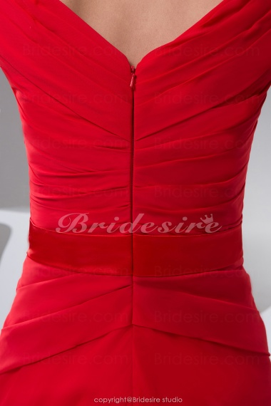 Bridesire A Line V Neck Floor Length Short Sleeve