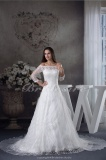 A-line Bateau Chapel Train 3/4 Length Sleeve Organza Lace Wedding Dress