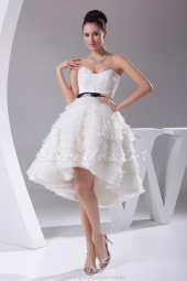 Ball Gown Sweetheart Knee-length Sleeveless Satin Organza Wedding Dress