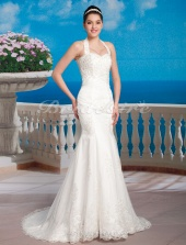 Trumpet/Mermaid Satin Court Train Halter Wedding Dress