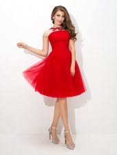 A-line Bateau Sleeveless Tulle Dress