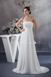 A-line Strapless Floor-length Court Train Sleeveless Chiffon Wedding Dress
