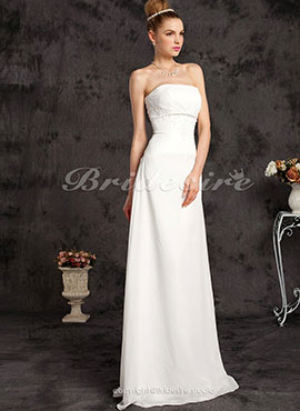 14284635046a15 Sheath  Column Chiffon Floor-length Wedding Dress With Beaded Appliques
