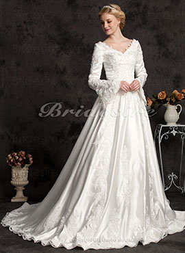 d99055682db Ball Gown Long Satin Sleeve Luxury V-neck Wedding Dress With Beaded  Appliques