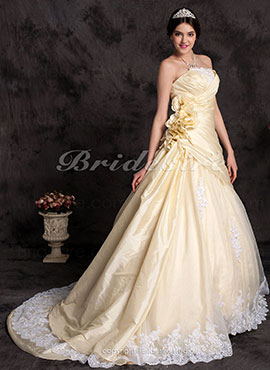 e52b7b01c58 A-line Taffeta Strapless Cathedral Train Wedding Dress with Flowers