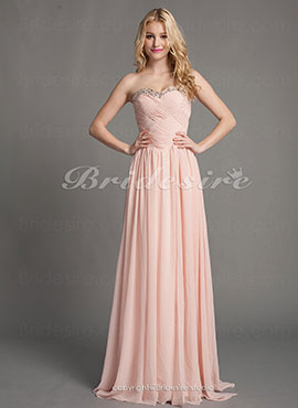 65954446043 Sheath Column Chiffon Sweetheart Floor-length Evening Dress With  Criss-Cross Bodice