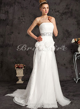 ef8cfebcf2f Mermaid Trumpet Lace And Tulle Court Train Strapless Wedding Dress With A  Wrap
