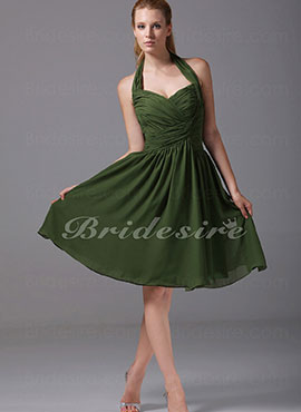 5f9196f9c2 A-line Sweetheart Halter Knee-length Sleeveless Chiffon Dress