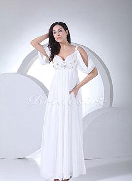 b9f1dd894c4 Sheath Column Sweetheart Floor-length Short Sleeve Chiffon Wedding Dress