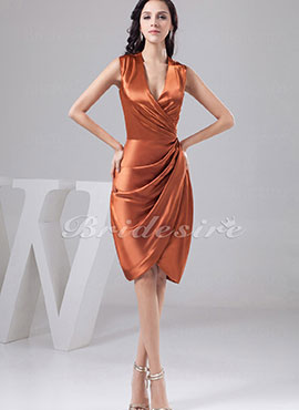2554335c4f7 Sheath Column V-neck Knee-length Sleeveless Satin Dress