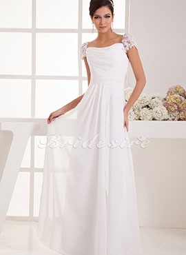 010acae99e1 A-line Strapless Floor-length Short Sleeve Chiffon Wedding Dress
