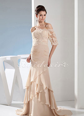 6d9f9a170aa Trumpet Mermaid Strapless Floor-length Sweep Brush Train Half Sleeve  Chiffon Dress