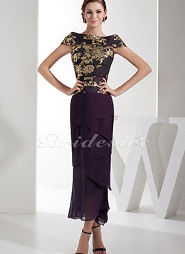 9ae3c1b97dad3e Trumpet Mermaid Bateau Ankle-length Short Sleeve Satin Dress