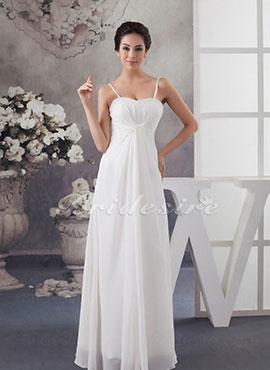 b227d7f376aa7 Sheath/Column Spaghetti Straps Floor-length Sleeveless Chiffon Wedding Dress