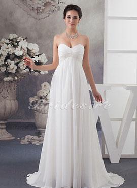 197ead3ecf7c49 Sheath Column Sweetheart Sweep Brush Train Sleeveless Chiffon Wedding Dress