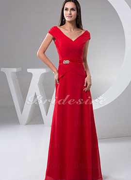88a1a5f1792 A-line V-neck Floor-length Short Sleeve Chiffon Satin Dress