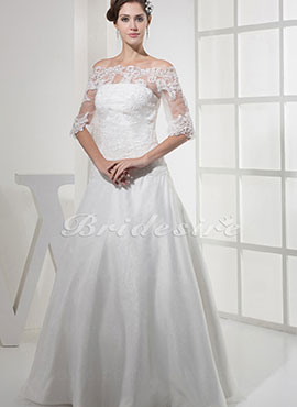 4db4d653421a A-line Off-the-shoulder Floor-length Half Sleeve Organza Lace Wedding