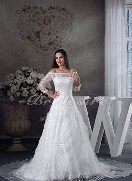 711ae78112f A-line Bateau Chapel Train 3 4 Length Sleeve Organza Lace Wedding Dress