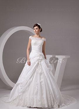 b10d58452b53 Ball Gown Off-the-shoulder Chapel Train Sleeveless Taffeta Lace Wedding  Dress