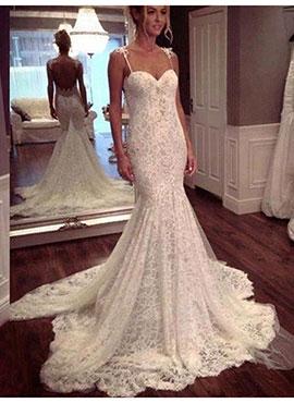 096b56369cdb Trumpet/Mermaid Spaghetti Straps Sleeveless Lace Wedding Dress