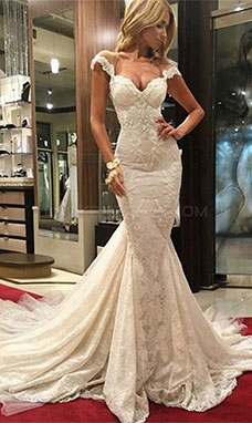 Trumpet/Mermaid Sweetheart Short Sleeve Lace Wedding Dress