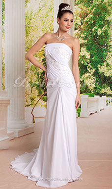 Sheath/ Column Flare and Side-Draped Fit Wedding Dresses with Beaded Applique