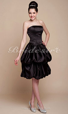 Ball Gown Knee-length Satin Strapless Bridesmaid/ Wedding Party Dress