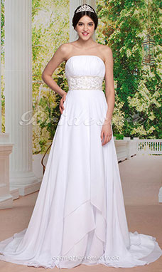 Empire Sheath/Column Lace And Chiffon Strapless Wedding Dress