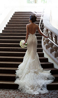 Trumpet/Mermaid Spaghetti Straps Sleeveless Tulle Wedding Dress